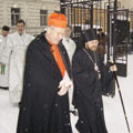 The Archbishop of Vienna, Cardinal Christoph Schnborn, visited the St Nicholas Cathedral in Vienna